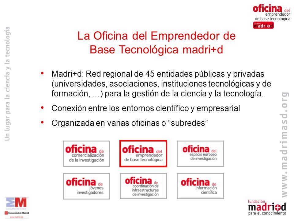 Madri+d: Red regional de 45 entidades públicas y privadas (universidades, asociaciones, instituciones tecnológicas y de formación, …) para la gestión de la ciencia y la tecnología.