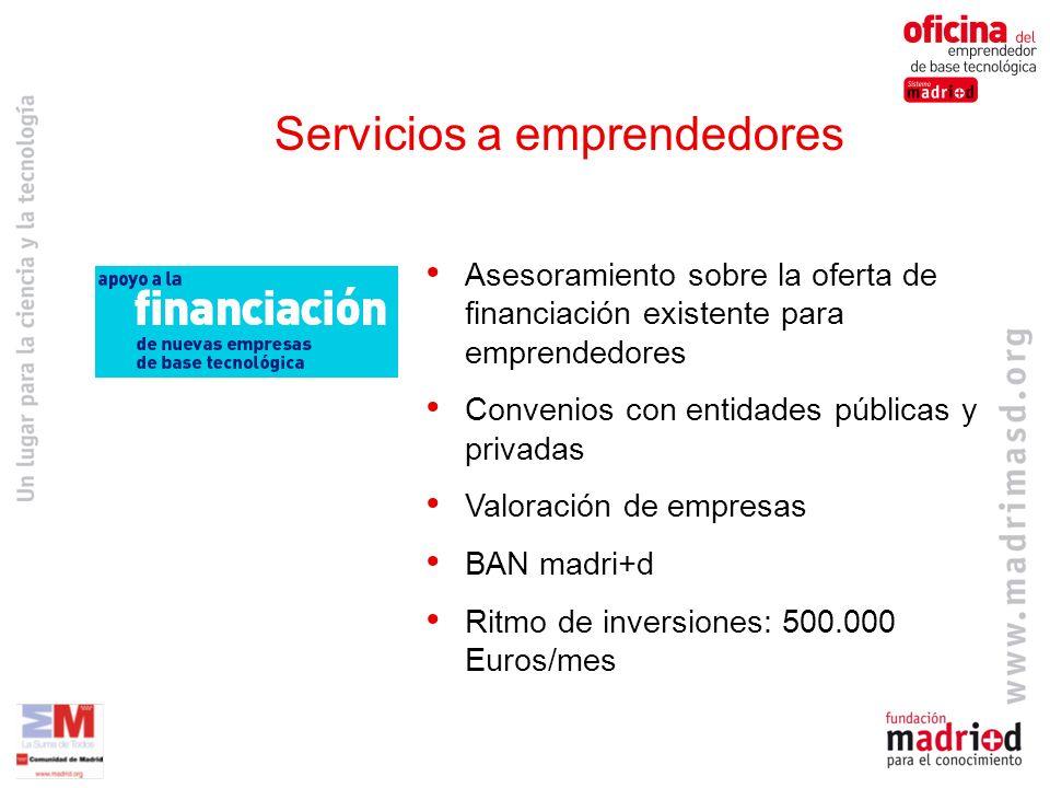 Asesoramiento sobre la oferta de financiación existente para emprendedores Convenios con entidades públicas y privadas Valoración de empresas BAN madri+d Ritmo de inversiones: 500.000 Euros/mes Servicios a emprendedores