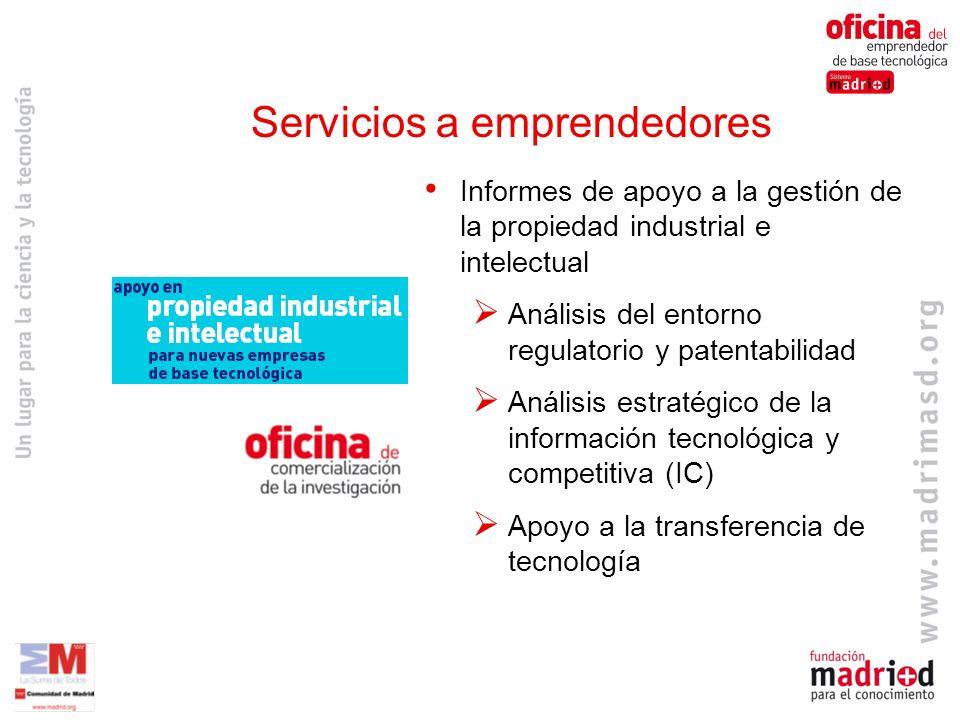 Informes de apoyo a la gestión de la propiedad industrial e intelectual Análisis del entorno regulatorio y patentabilidad Análisis estratégico de la información tecnológica y competitiva (IC) Apoyo a la transferencia de tecnología Servicios a emprendedores