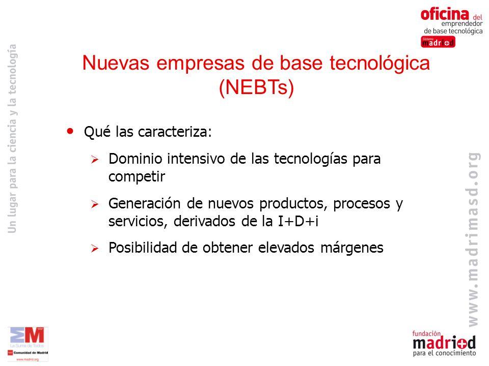 Qué las caracteriza: Dominio intensivo de las tecnologías para competir Generación de nuevos productos, procesos y servicios, derivados de la I+D+i Posibilidad de obtener elevados márgenes Nuevas empresas de base tecnológica (NEBTs)