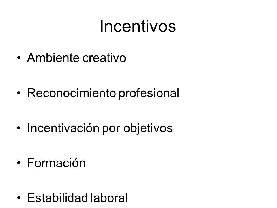 Incentivos Ambiente creativo Reconocimiento profesional Incentivación por objetivos Formación Estabilidad laboral