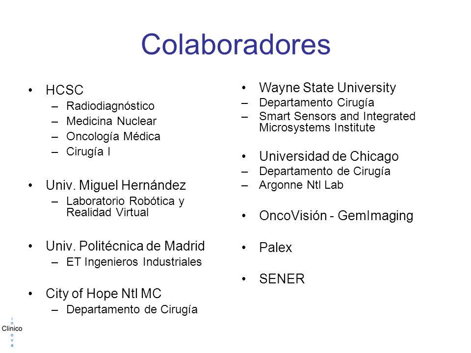 Colaboradores HCSC –Radiodiagnóstico –Medicina Nuclear –Oncología Médica –Cirugía I Univ.