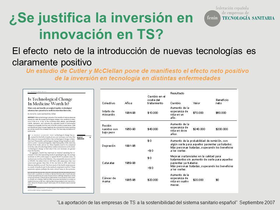 ¿Se justifica la inversión en innovación en TS? El efecto neto de la introducción de nuevas tecnologías es claramente positivo Un estudio de Cutler y