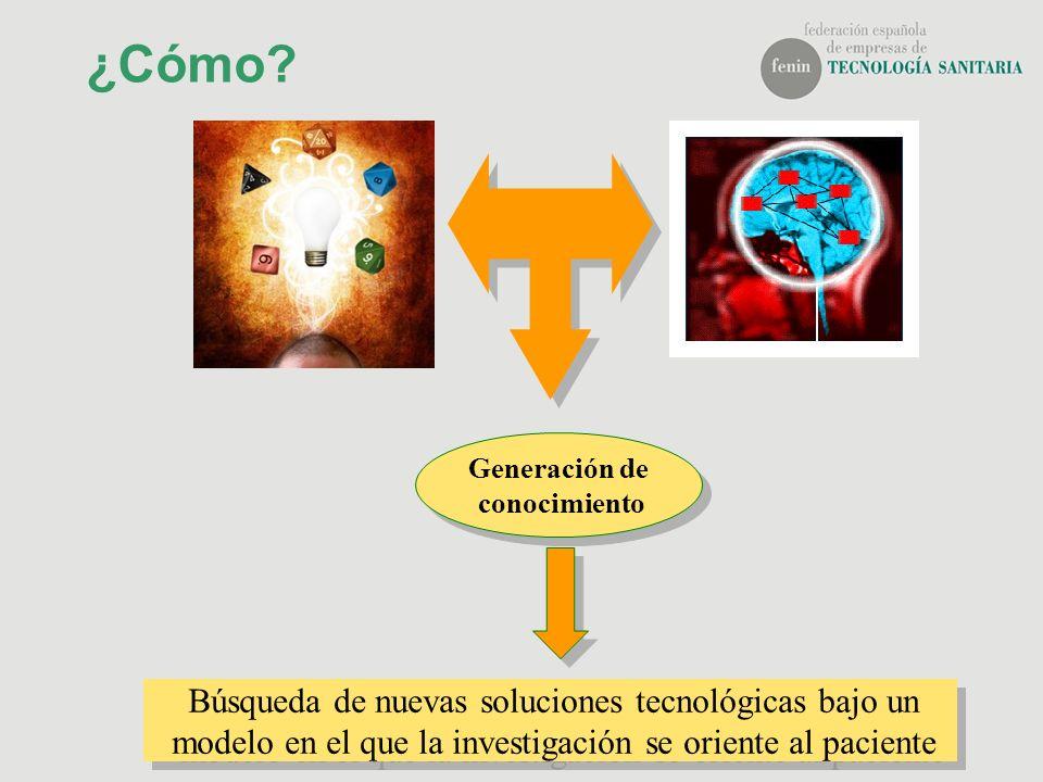 ¿Cómo? Búsqueda de nuevas soluciones tecnológicas bajo un modelo en el que la investigación se oriente al paciente Generación de conocimiento Generaci