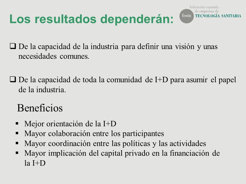 Los resultados dependerán: De la capacidad de la industria para definir una visión y unas necesidades comunes. De la capacidad de toda la comunidad de