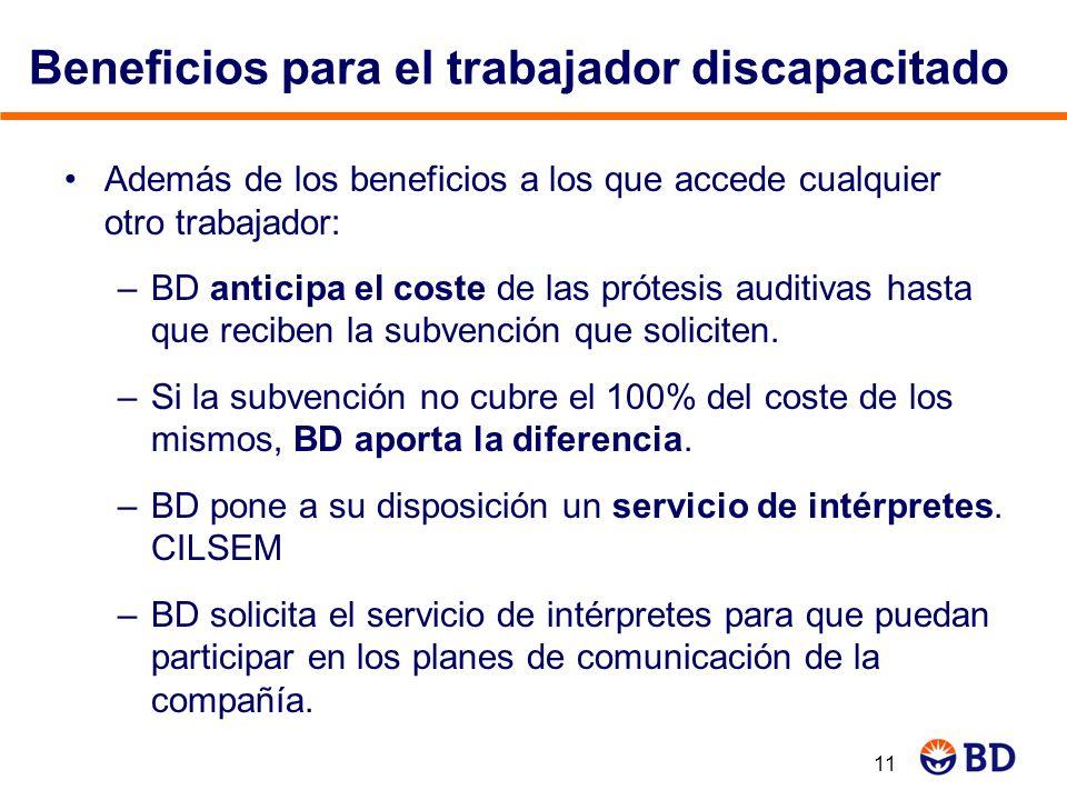Beneficios para el trabajador discapacitado Además de los beneficios a los que accede cualquier otro trabajador: –BD anticipa el coste de las prótesis