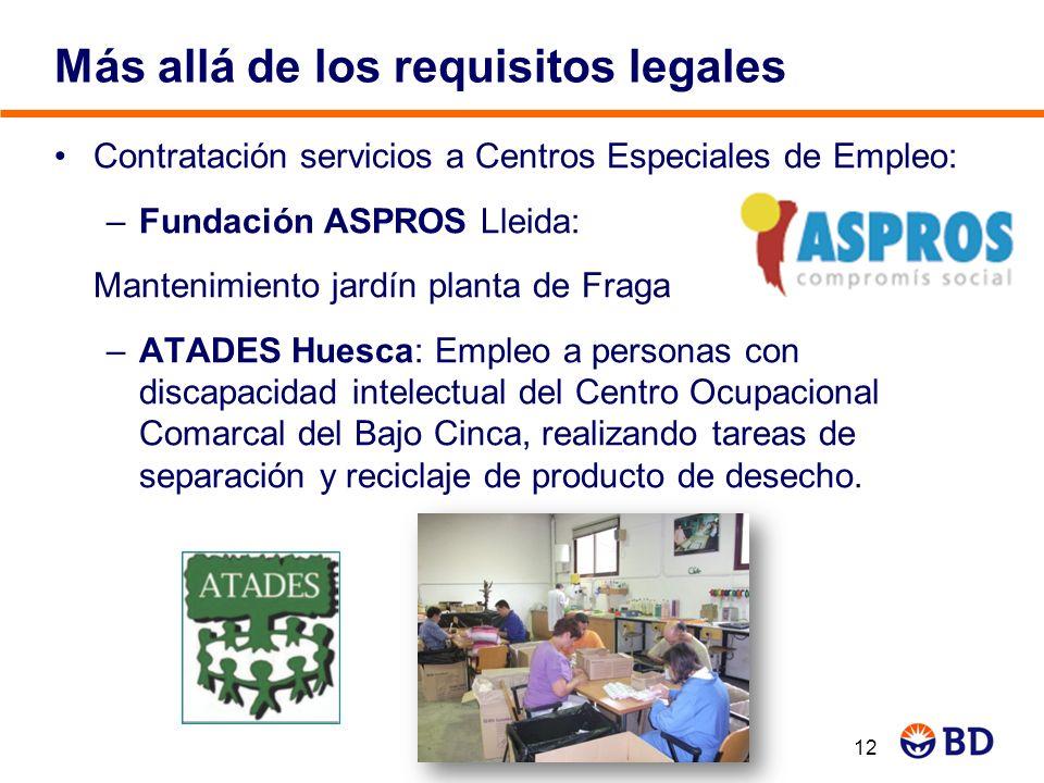 Más allá de los requisitos legales Contratación servicios a Centros Especiales de Empleo: –Fundación ASPROS Lleida: Mantenimiento jardín planta de Fra
