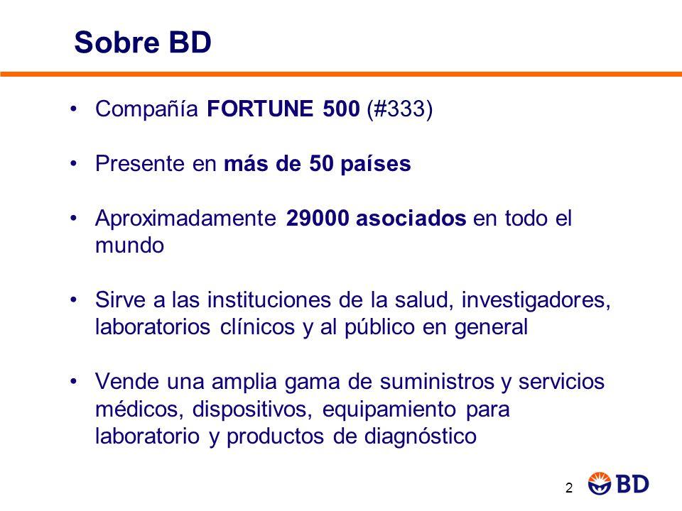 2 Sobre BD Compañía FORTUNE 500 (#333) Presente en más de 50 países Aproximadamente 29000 asociados en todo el mundo Sirve a las instituciones de la s