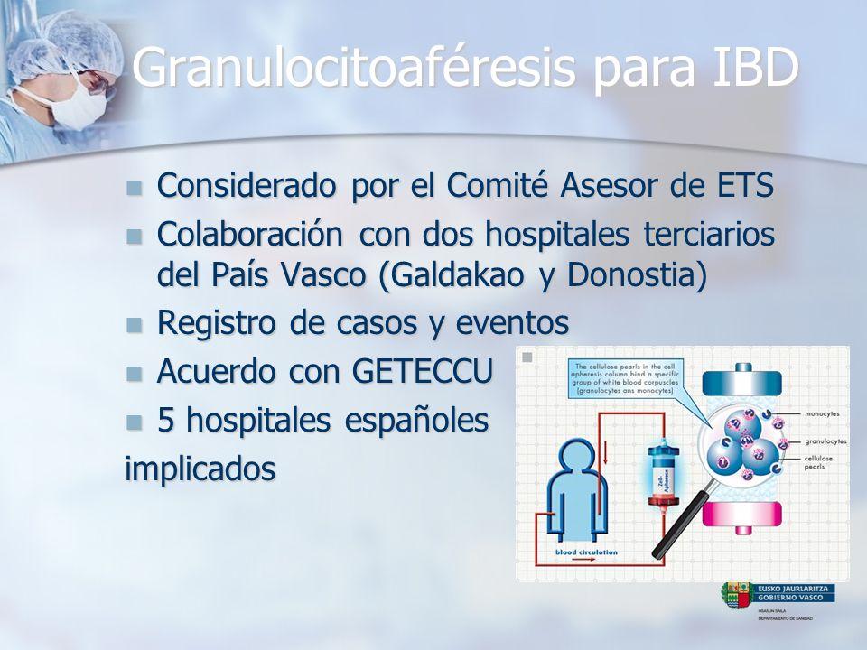 Granulocitoaféresis para IBD Considerado por el Comité Asesor de ETS Considerado por el Comité Asesor de ETS Colaboración con dos hospitales terciario