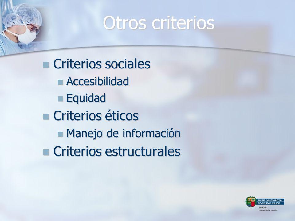 Otros criterios Criterios sociales Criterios sociales Accesibilidad Accesibilidad Equidad Equidad Criterios éticos Criterios éticos Manejo de informac