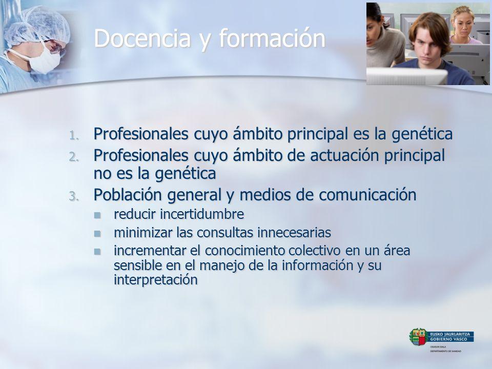 Docencia y formación 1. Profesionales cuyo ámbito principal es la genética 2. Profesionales cuyo ámbito de actuación principal no es la genética 3. Po