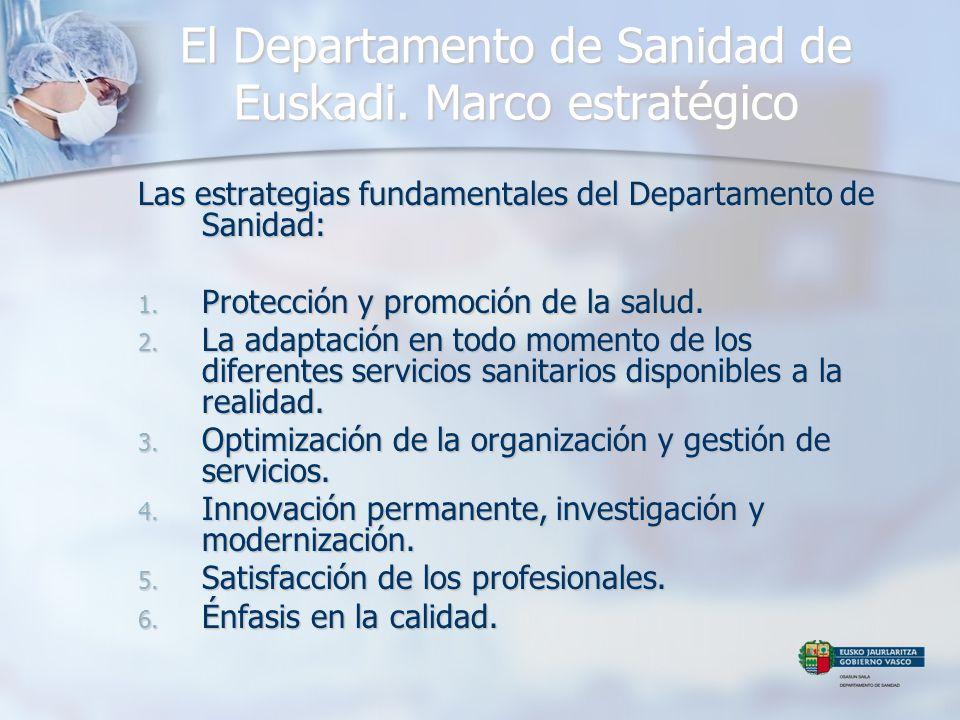 El Departamento de Sanidad de Euskadi. Marco estratégico Las estrategias fundamentales del Departamento de Sanidad: 1. Protección y promoción de la sa