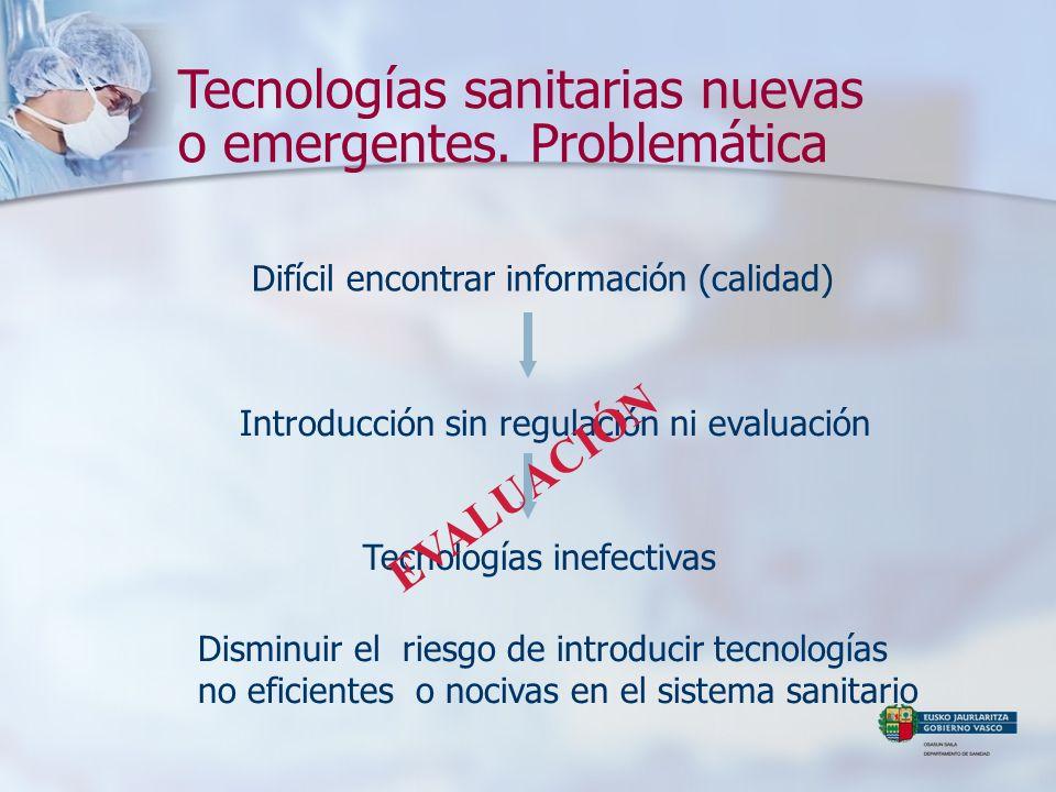Tecnologías sanitarias nuevas o emergentes. Problemática Introducción sin regulación ni evaluación Difícil encontrar información (calidad) Tecnologías