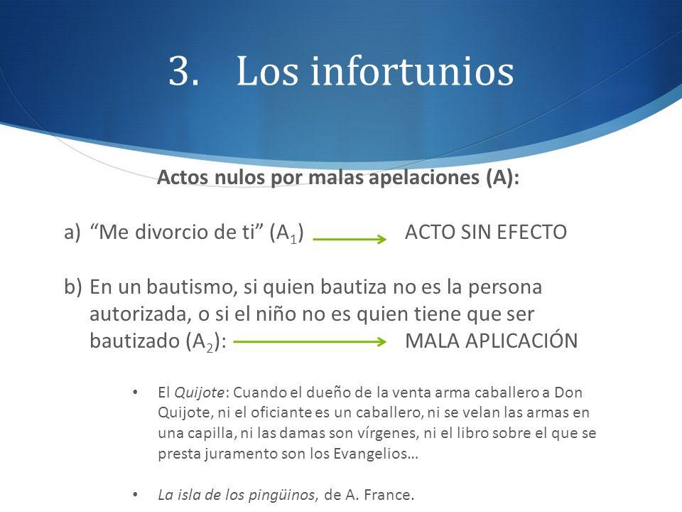 3.Los infortunios Actos nulos por malas apelaciones (A): a)Me divorcio de ti (A 1 )ACTO SIN EFECTO b)En un bautismo, si quien bautiza no es la persona
