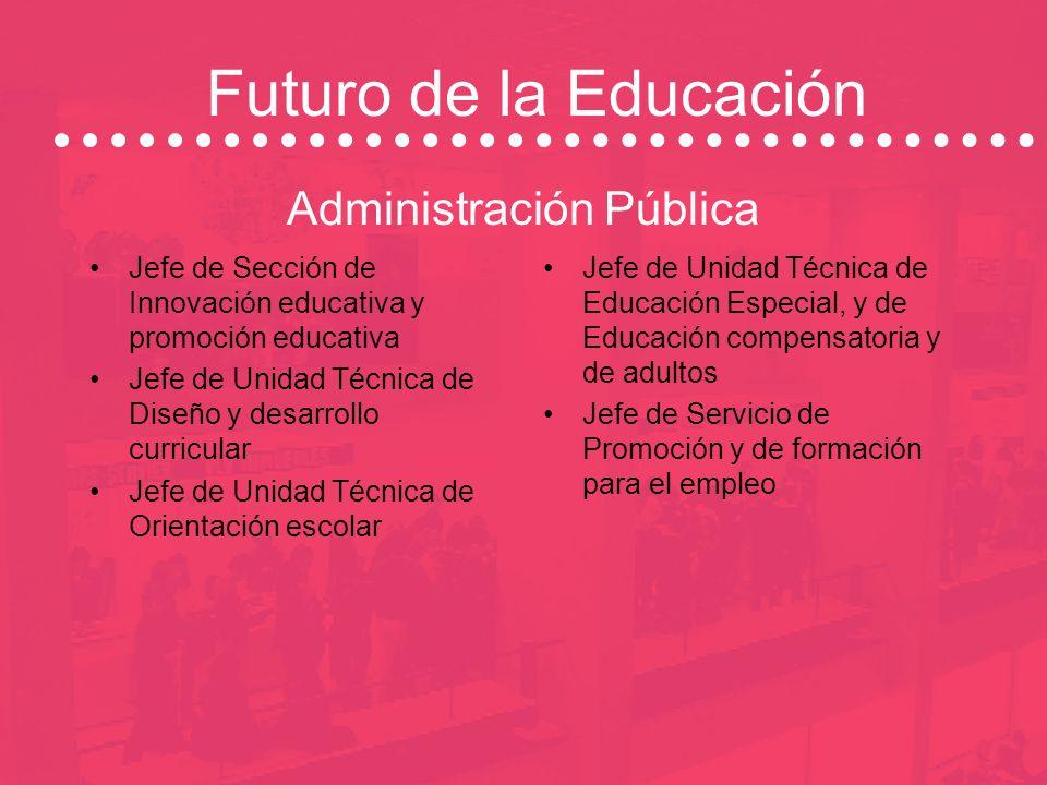 Futuro de la Educación Administración Pública Jefe de Sección de la Unidad de educación ambiental Jefe de Servicio de Recursos Humanos: sección person