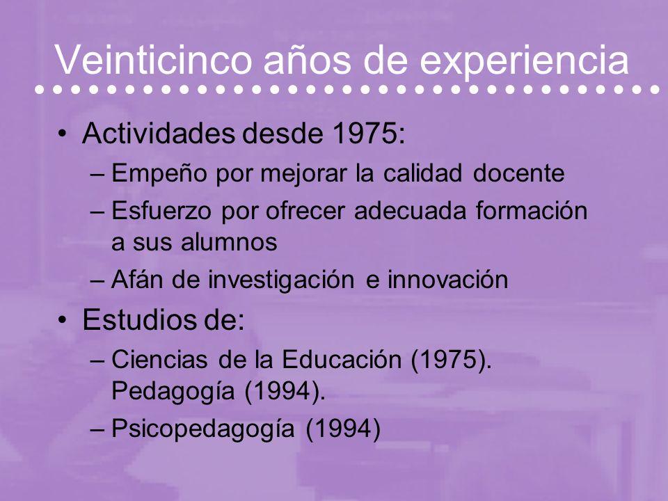 Veinticinco años de experiencia Actividades desde 1975: –Empeño por mejorar la calidad docente –Esfuerzo por ofrecer adecuada formación a sus alumnos –Afán de investigación e innovación Estudios de: –Ciencias de la Educación (1975).