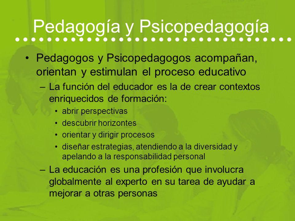 Psicopedagogía Psicopedagogía: dos cursos –Segundo ciclo: mayor carga de contenidos en Psicología aplicada a la educación que permite: Diagnóstico y a