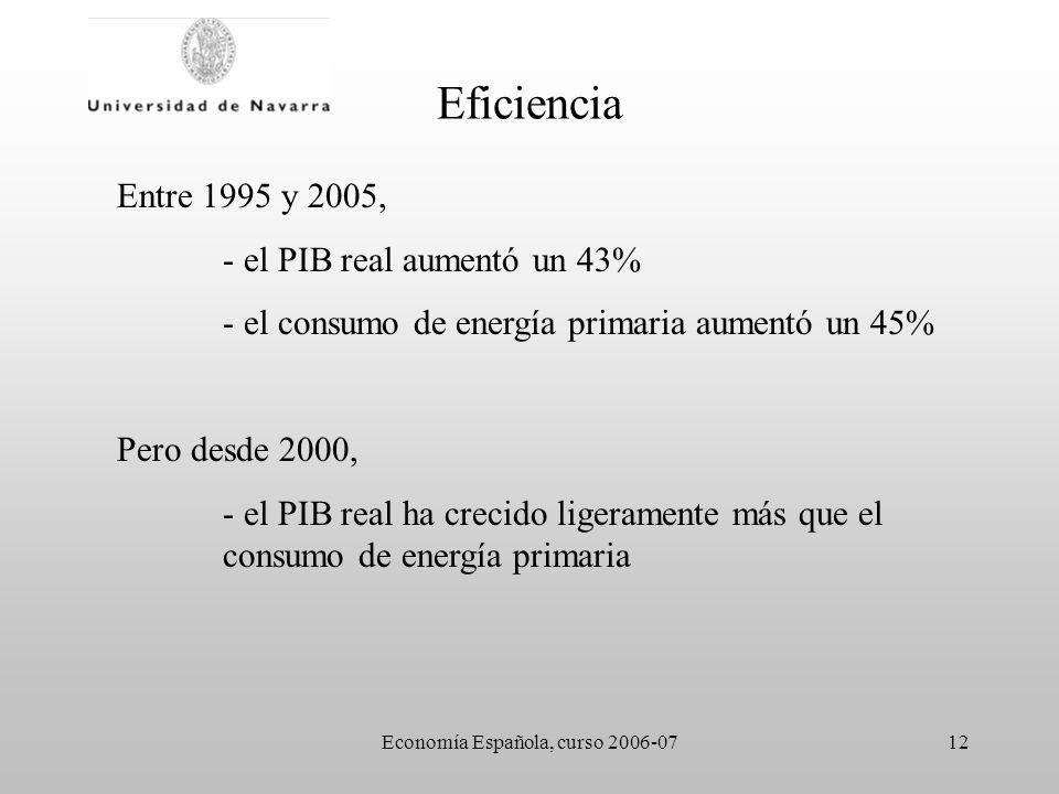 Economía Española, curso 2006-0712 Eficiencia Entre 1995 y 2005, - el PIB real aumentó un 43% - el consumo de energía primaria aumentó un 45% Pero desde 2000, - el PIB real ha crecido ligeramente más que el consumo de energía primaria