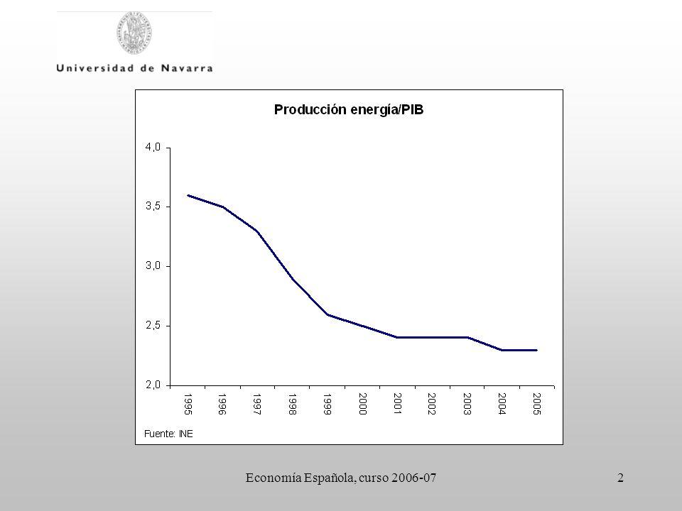 Economía Española, curso 2006-0713 Eficiencia - el mantenimiento de una tarifa regulada con criterios políticos ha limitado la liberalización - no se ha reforzado el papel de la Comisión Nacional de Energía (CNE) como regulador independiente del sector - la concentración (vertical) en el sector eléctrico junto a la falta de reestructuración del sector antes de la privatización distorsionan el mercado a largo plazo Liberalización del mercado eléctrico