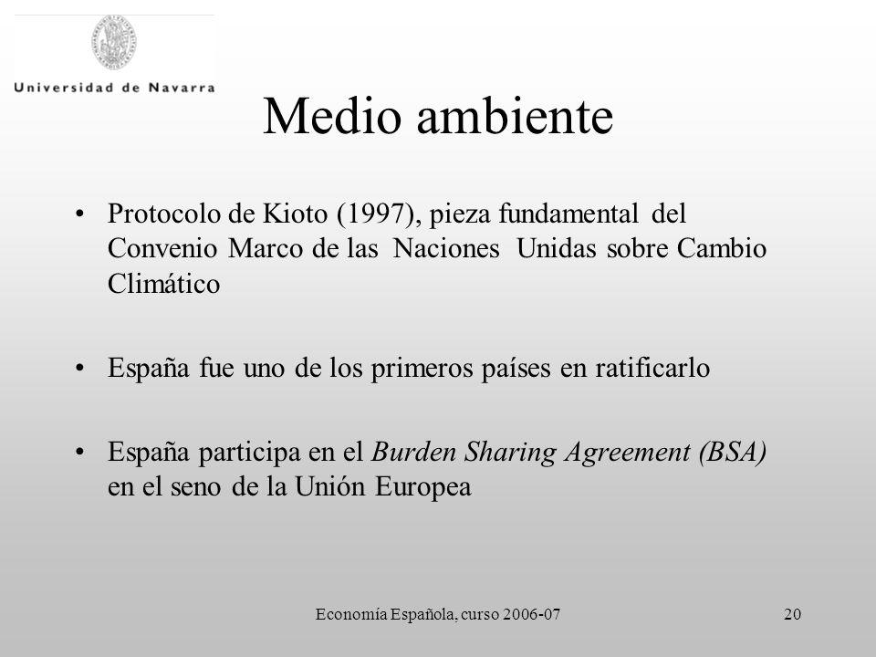 Economía Española, curso 2006-0720 Medio ambiente Protocolo de Kioto (1997), pieza fundamental del Convenio Marco de las Naciones Unidas sobre Cambio Climático España fue uno de los primeros países en ratificarlo España participa en el Burden Sharing Agreement (BSA) en el seno de la Unión Europea