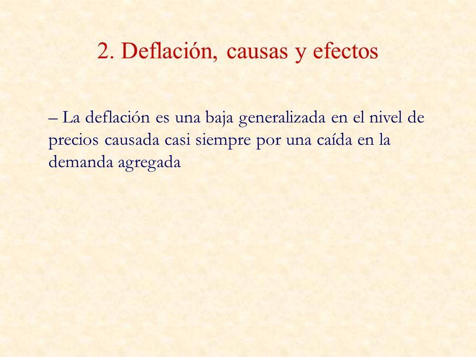 2. Deflación, causas y efectos – La deflación es una baja generalizada en el nivel de precios causada casi siempre por una caída en la demanda agregad