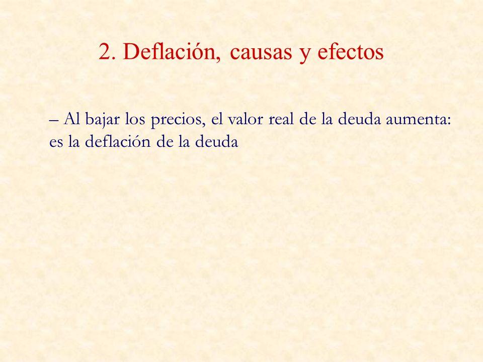 2. Deflación, causas y efectos – Al bajar los precios, el valor real de la deuda aumenta: es la deflación de la deuda
