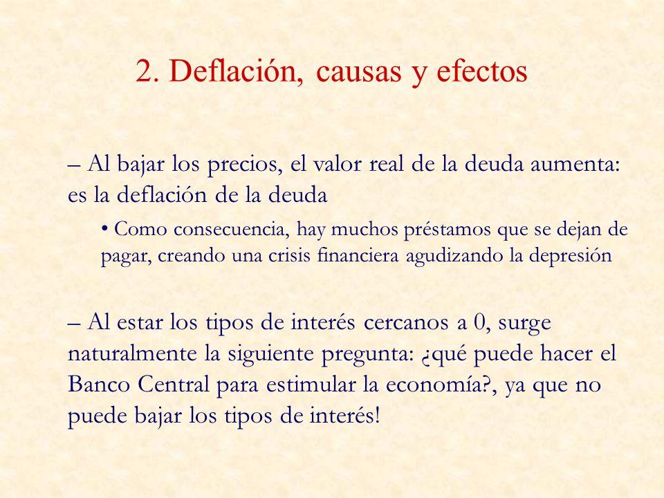 2. Deflación, causas y efectos – Al bajar los precios, el valor real de la deuda aumenta: es la deflación de la deuda Como consecuencia, hay muchos pr