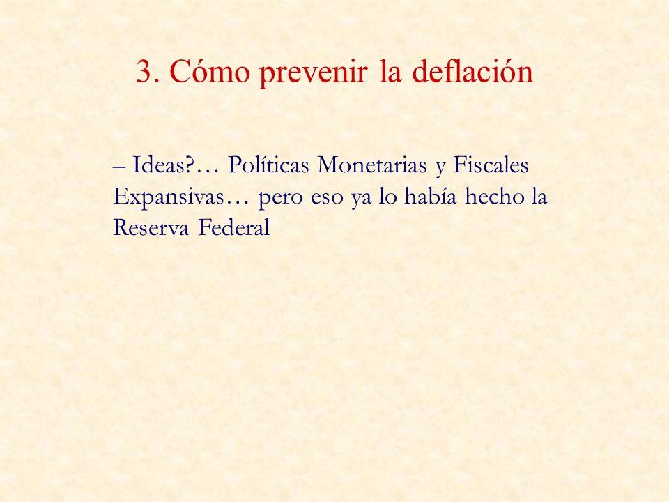 3. Cómo prevenir la deflación – Ideas?… Políticas Monetarias y Fiscales Expansivas… pero eso ya lo había hecho la Reserva Federal