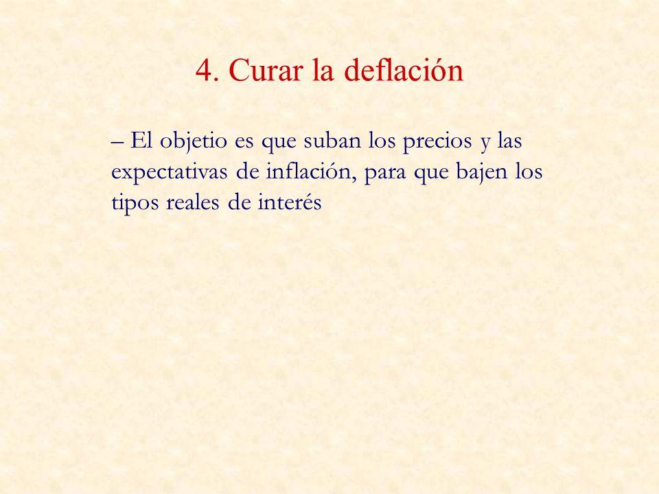4. Curar la deflación – El objetio es que suban los precios y las expectativas de inflación, para que bajen los tipos reales de interés