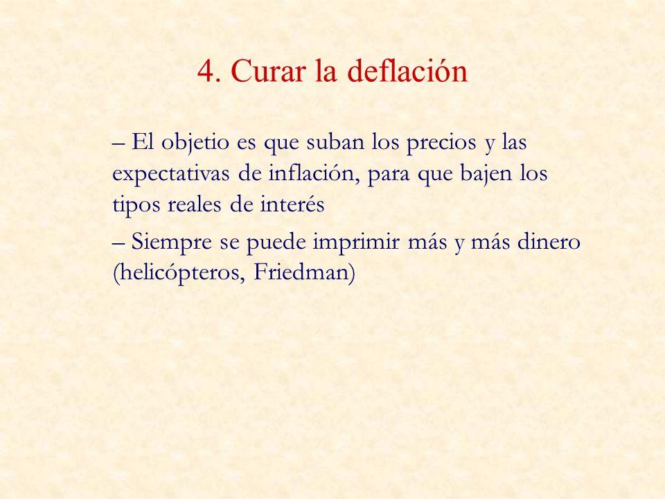 4. Curar la deflación – El objetio es que suban los precios y las expectativas de inflación, para que bajen los tipos reales de interés – Siempre se p