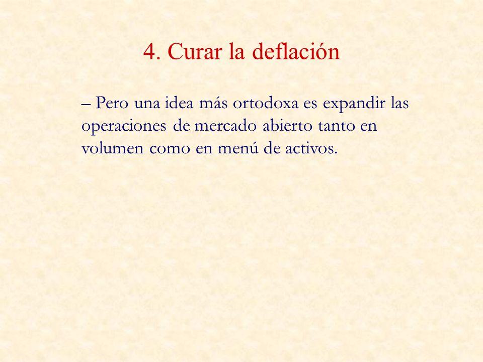 4. Curar la deflación – Pero una idea más ortodoxa es expandir las operaciones de mercado abierto tanto en volumen como en menú de activos.