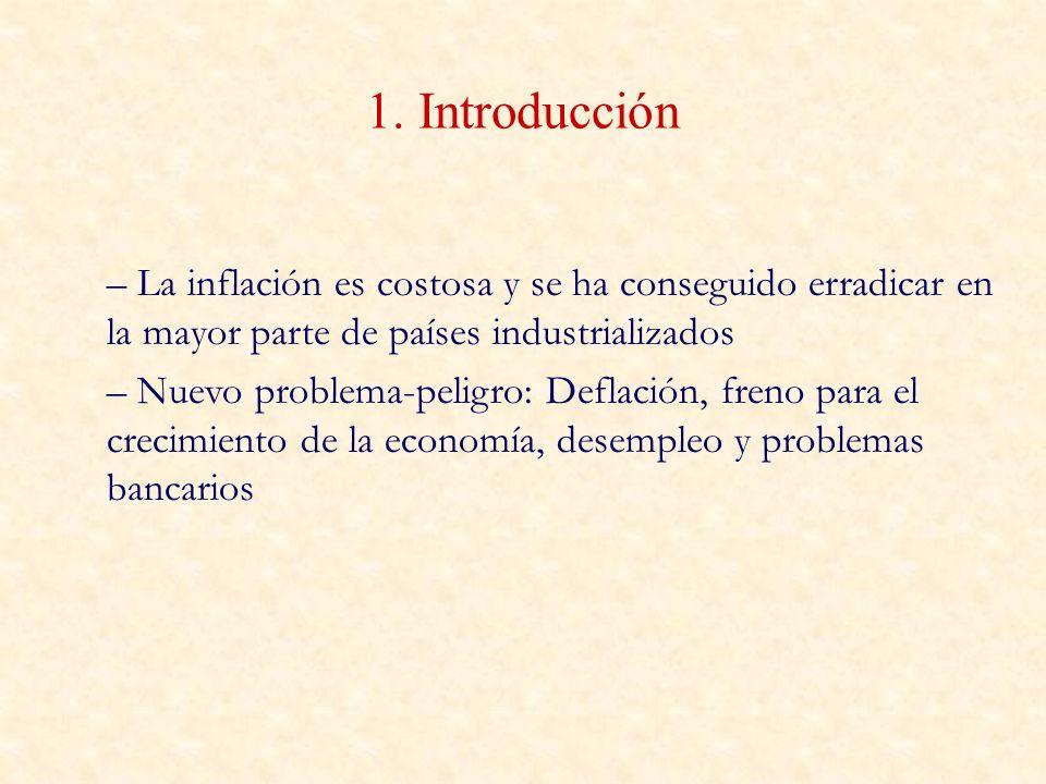 1. Introducción – La inflación es costosa y se ha conseguido erradicar en la mayor parte de países industrializados – Nuevo problema-peligro: Deflació