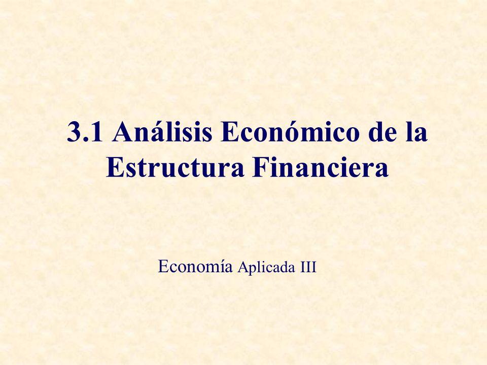 3.1 Análisis Económico de la Estructura Financiera Economía Aplicada III