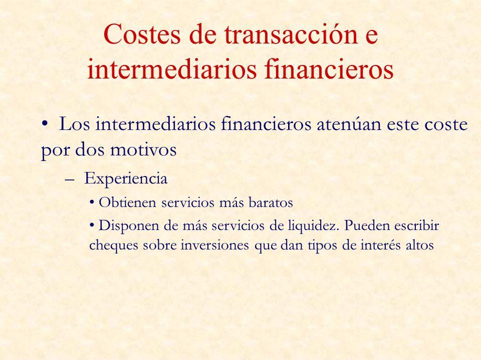 Costes de transacción e intermediarios financieros Los intermediarios financieros atenúan este coste por dos motivos – Experiencia Obtienen servicios