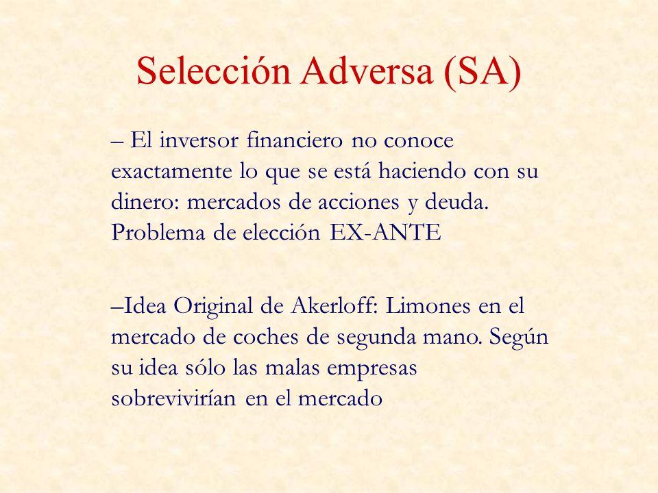 Selección Adversa (SA) – El inversor financiero no conoce exactamente lo que se está haciendo con su dinero: mercados de acciones y deuda. Problema de