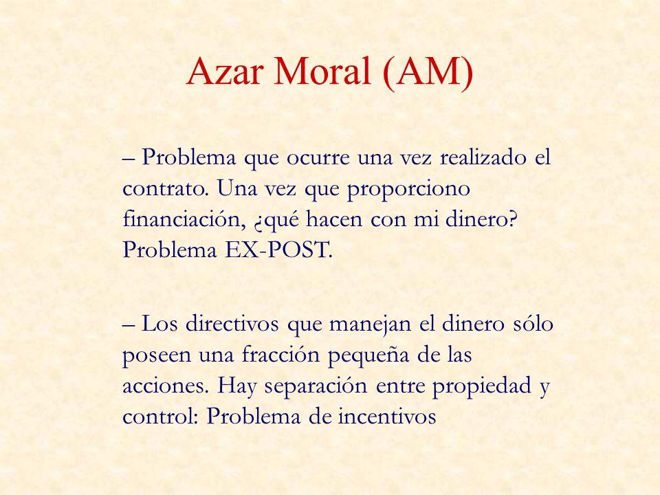 Azar Moral (AM) – Problema que ocurre una vez realizado el contrato. Una vez que proporciono financiación, ¿qué hacen con mi dinero? Problema EX-POST.