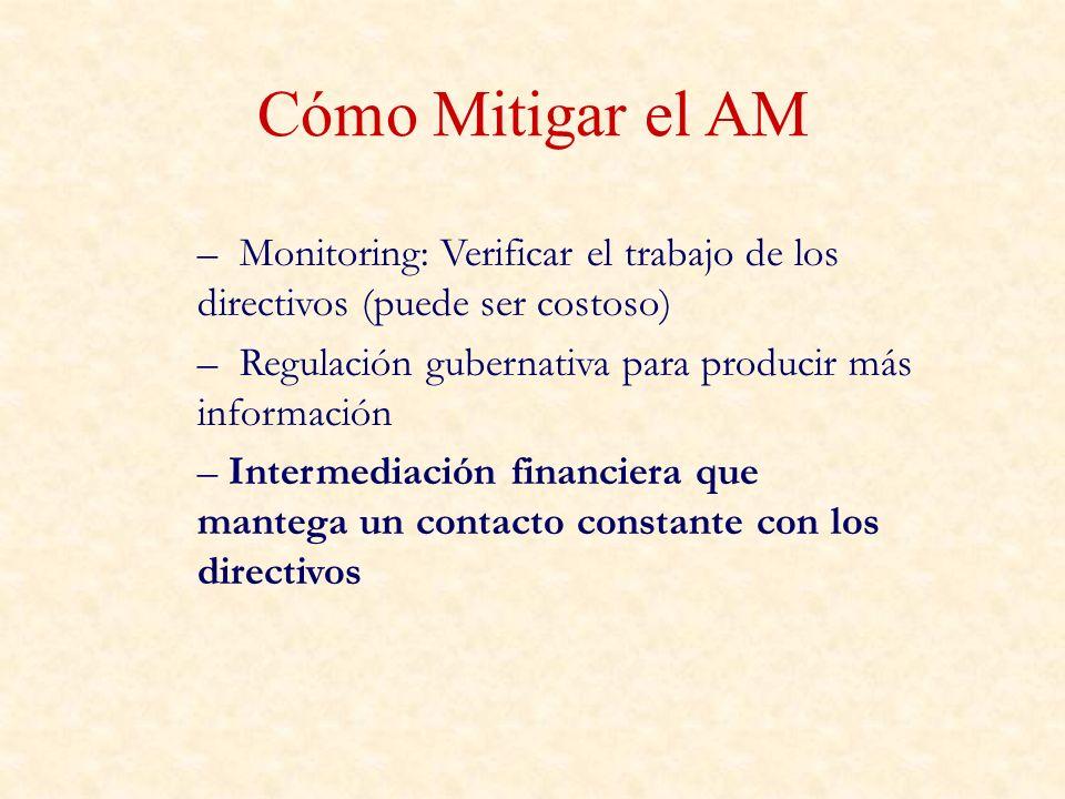 Cómo Mitigar el AM – Monitoring: Verificar el trabajo de los directivos (puede ser costoso) – Regulación gubernativa para producir más información – I