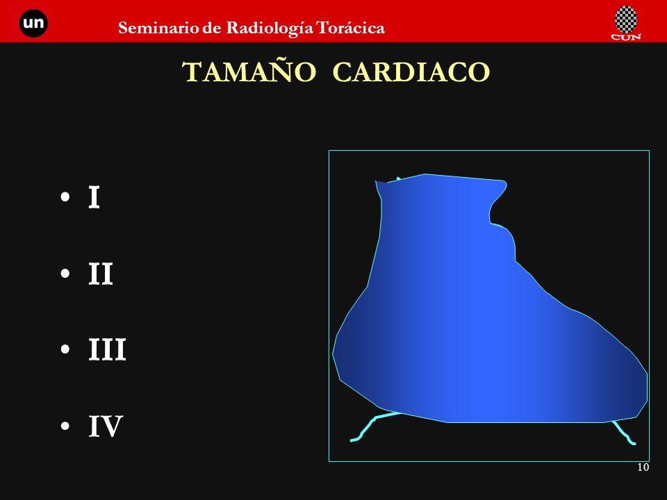 10 TAMAÑO CARDIACO I I II I II III I II III IV