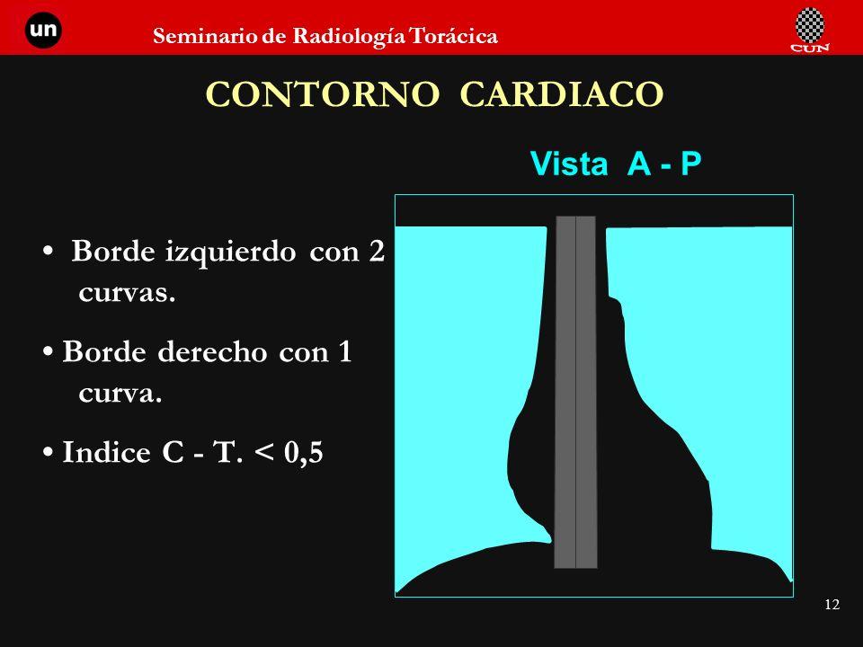Seminario de Radiología Torácica 12 CONTORNO CARDIACO Vista A - P Borde izquierdo con 2 curvas. Borde derecho con 1 curva. Indice C - T. < 0,5