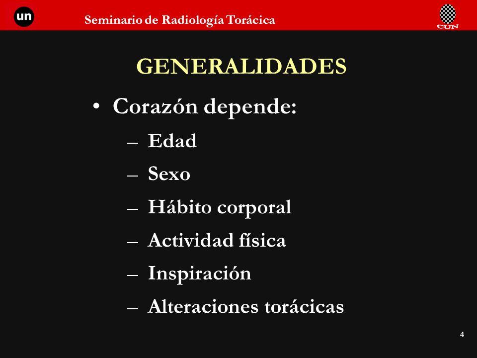 Seminario de Radiología Torácica 25 1.Aumento de la sombra retro- esternal.