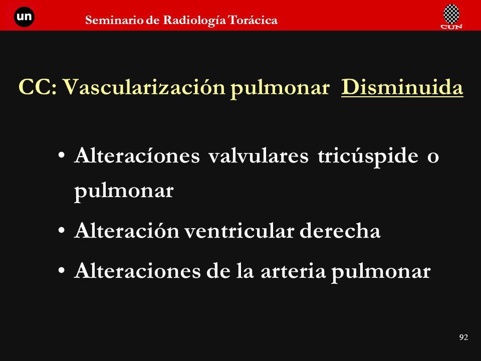 Seminario de Radiología Torácica 92 CC: Vascularización pulmonar Disminuida Alteracíones valvulares tricúspide o pulmonar Alteración ventricular derec