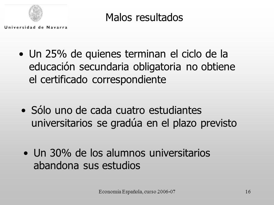 Economía Española, curso 2006-0716 Malos resultados Un 25% de quienes terminan el ciclo de la educación secundaria obligatoria no obtiene el certificado correspondiente Sólo uno de cada cuatro estudiantes universitarios se gradúa en el plazo previsto Un 30% de los alumnos universitarios abandona sus estudios