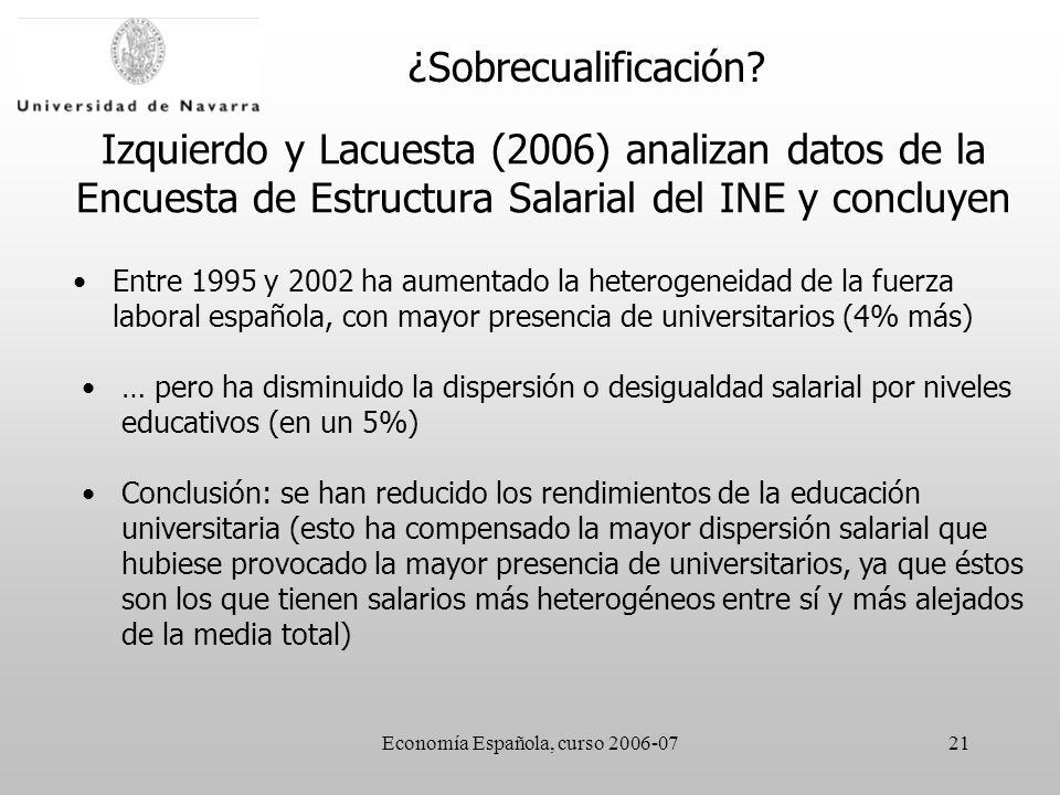 Economía Española, curso 2006-0721 Izquierdo y Lacuesta (2006) analizan datos de la Encuesta de Estructura Salarial del INE y concluyen Entre 1995 y 2002 ha aumentado la heterogeneidad de la fuerza laboral española, con mayor presencia de universitarios (4% más) ¿Sobrecualificación.