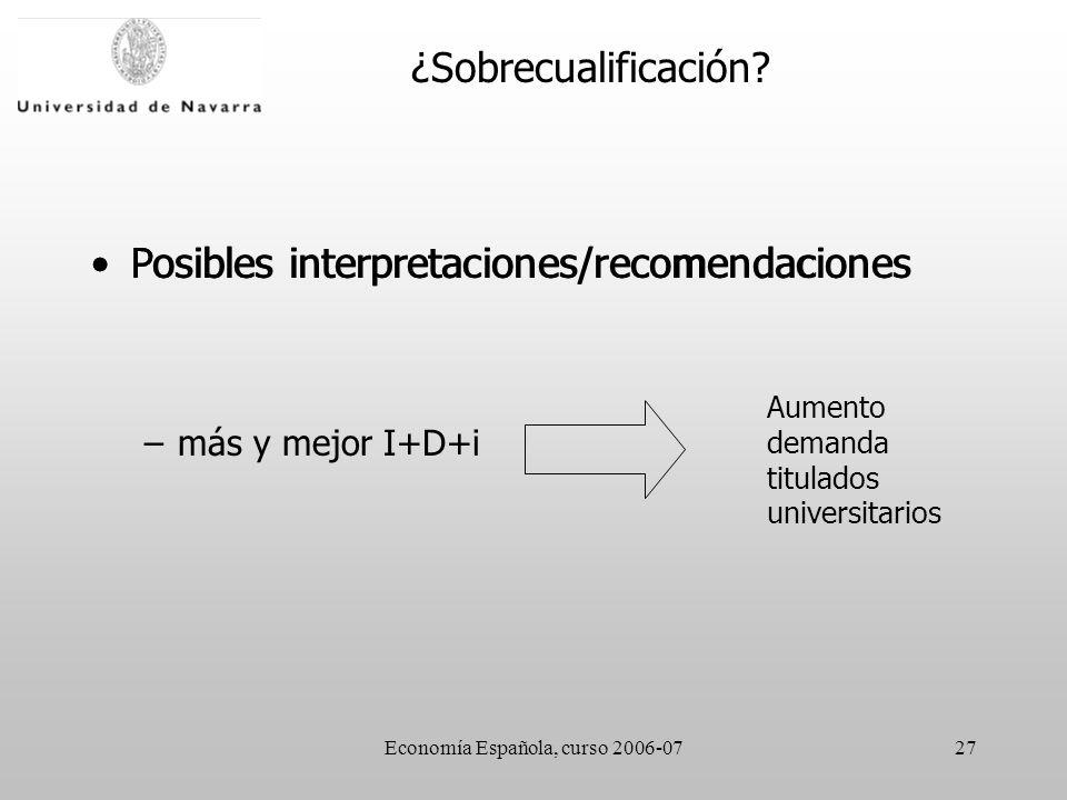 Economía Española, curso 2006-0727 Posibles interpretaciones/recomendaciones –más y mejor I+D+i Aumento demanda titulados universitarios ¿Sobrecualifi