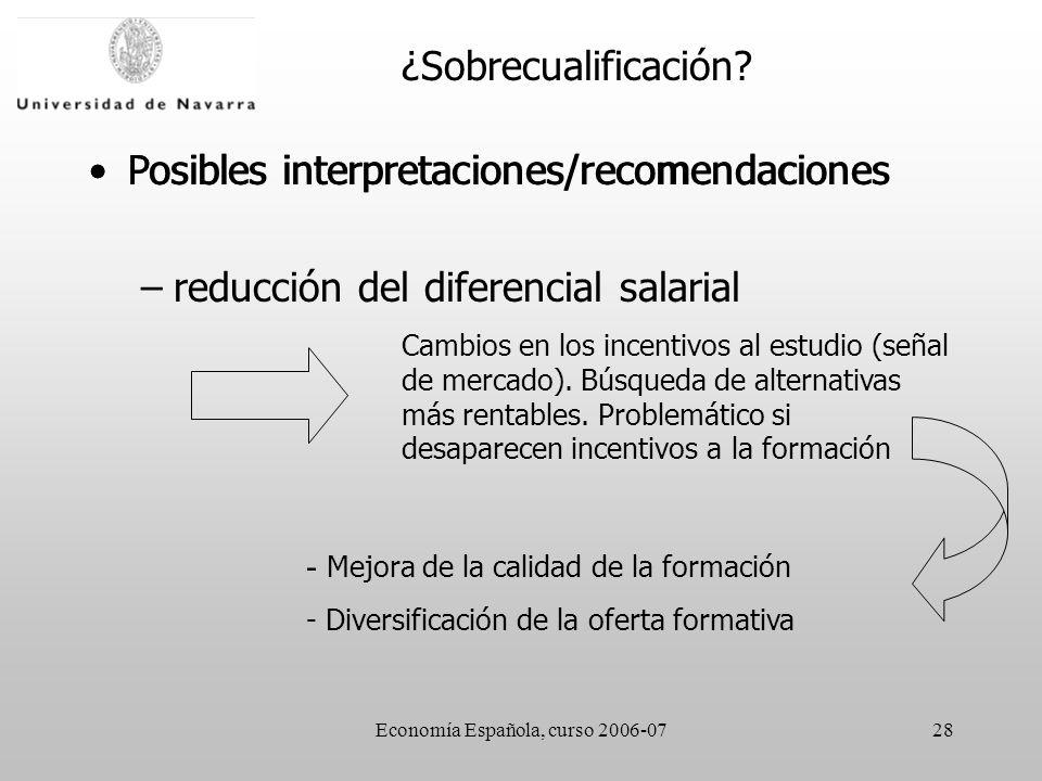 Economía Española, curso 2006-0728 Posibles interpretaciones/recomendaciones –reducción del diferencial salarial Cambios en los incentivos al estudio (señal de mercado).