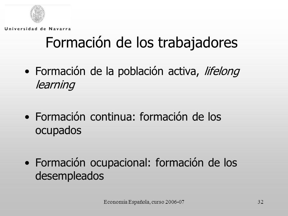 Economía Española, curso 2006-0732 Formación de los trabajadores Formación de la población activa, lifelong learning Formación continua: formación de los ocupados Formación ocupacional: formación de los desempleados