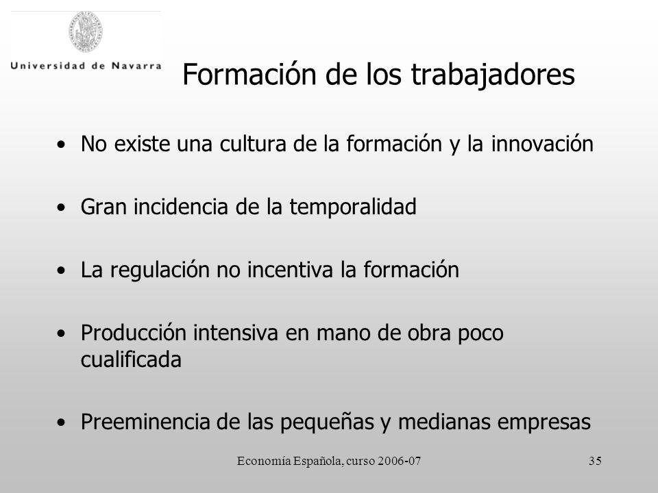 Economía Española, curso 2006-0735 Formación de los trabajadores No existe una cultura de la formación y la innovación Gran incidencia de la temporalidad La regulación no incentiva la formación Producción intensiva en mano de obra poco cualificada Preeminencia de las pequeñas y medianas empresas
