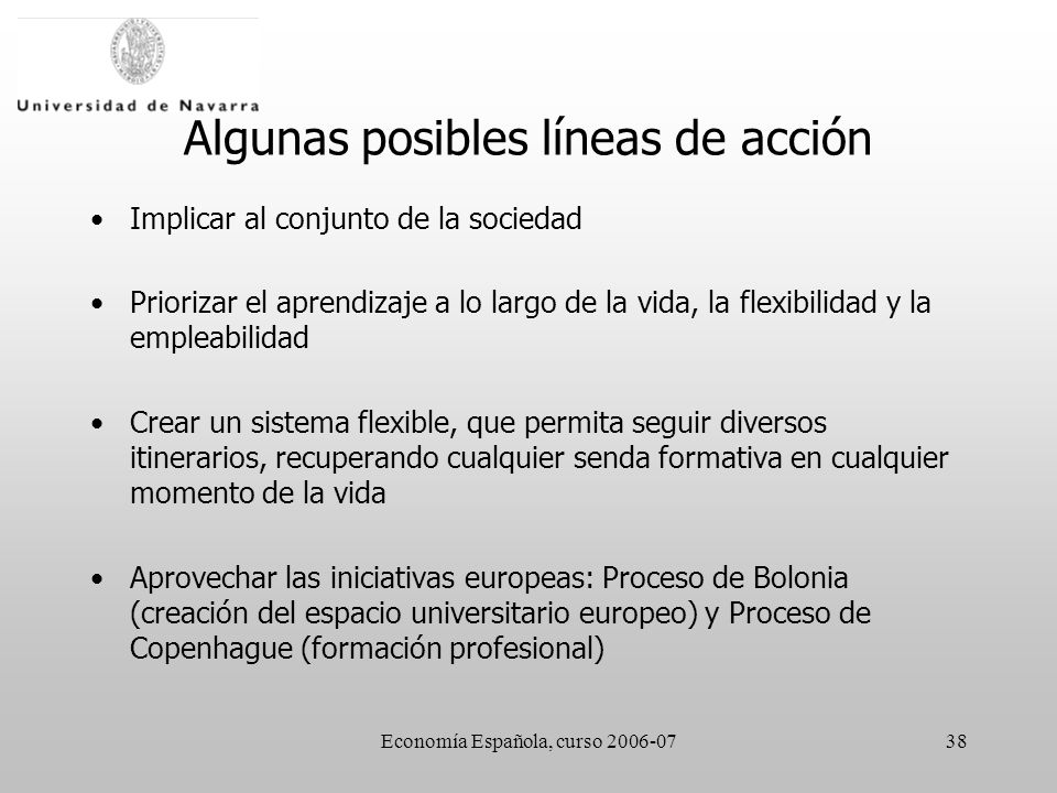 Economía Española, curso 2006-0738 Algunas posibles líneas de acción Implicar al conjunto de la sociedad Priorizar el aprendizaje a lo largo de la vid