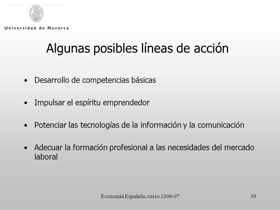 Economía Española, curso 2006-0739 Algunas posibles líneas de acción Desarrollo de competencias básicas Impulsar el espíritu emprendedor Potenciar las tecnologías de la información y la comunicación Adecuar la formación profesional a las necesidades del mercado laboral