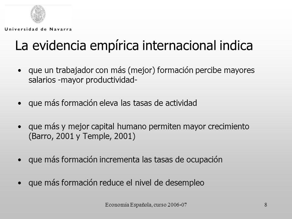 Economía Española, curso 2006-078 La evidencia empírica internacional indica que un trabajador con más (mejor) formación percibe mayores salarios -may